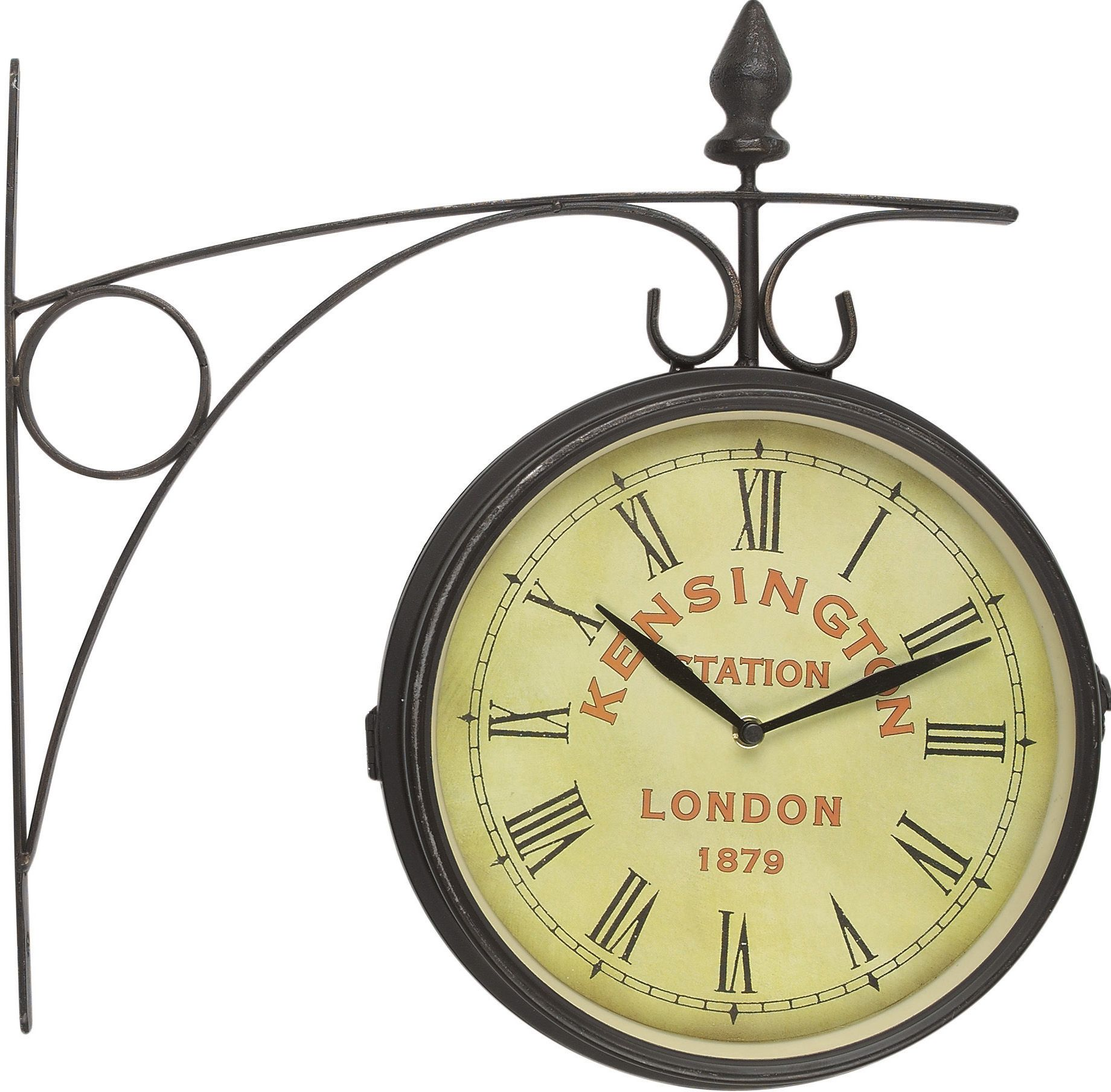 kare design wanduhr old london station im look einer antiken bahnhofsuhr aus eisen und glas mit. Black Bedroom Furniture Sets. Home Design Ideas