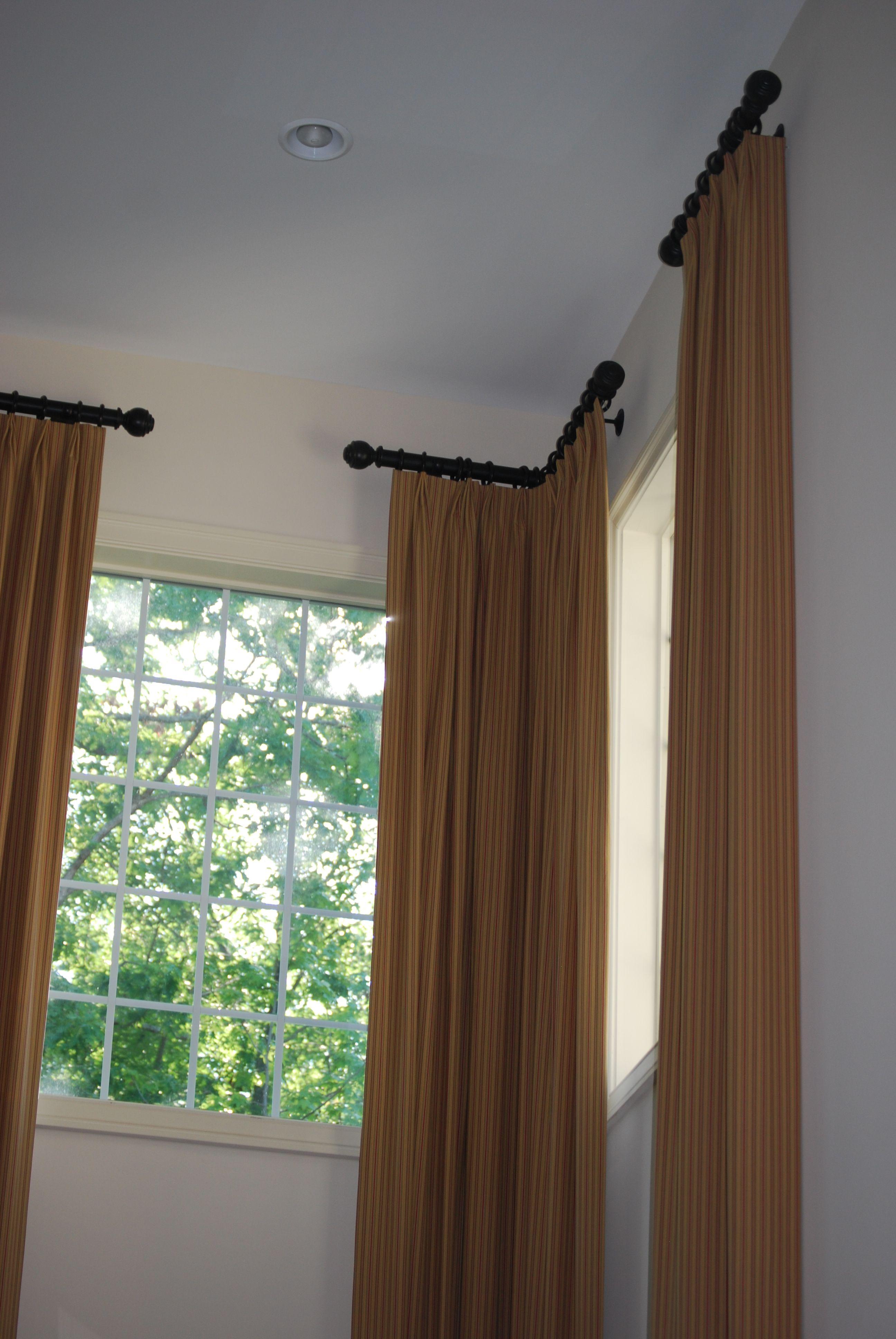 Corner Rods Short Rods w Panels  Window Treatments in