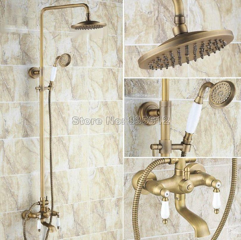 Rain Shower Faucet Set Antique Brass Bathtub Shower Mixer Tap With