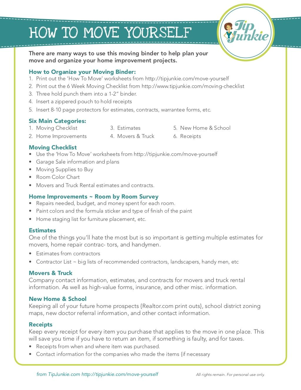 Moving Binder Tips Moving Binder Moving Tips Moving Checklist