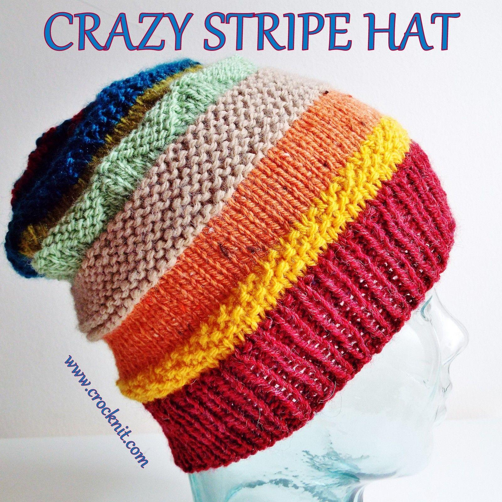 CRAZY STRIPE HAT Knit Pattern | Knitting patterns | Pinterest | Knit ...