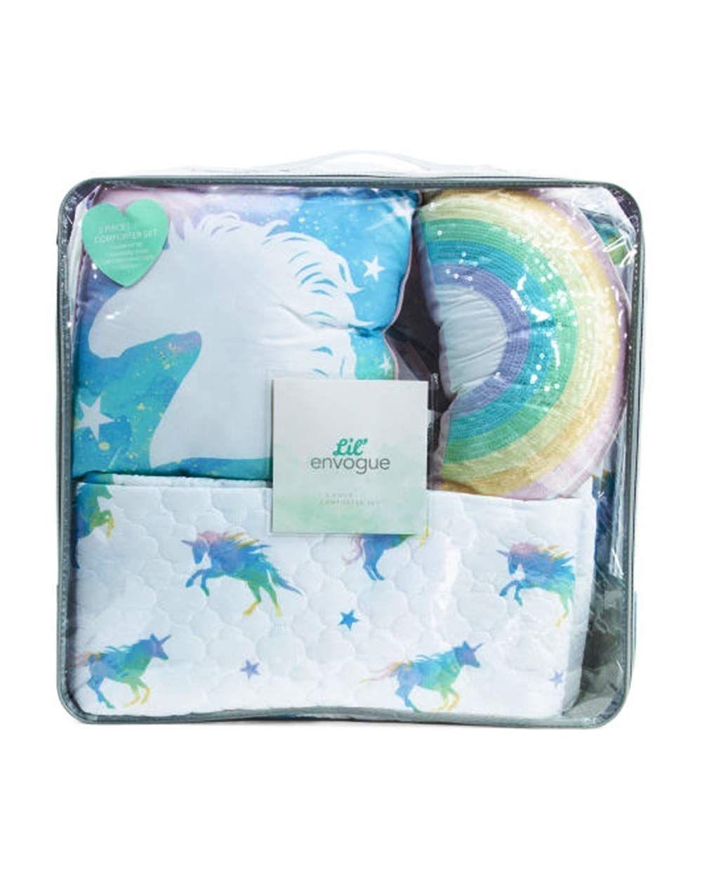 d0bf23e96476d Lil Envogue Pastel Rainbow Unicorn 6pc Full Queen Size Comforter Set ~ Comforter  Quilt Coverlet