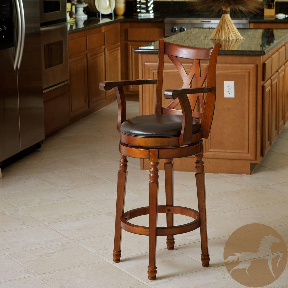 Eclipse 30 Inch Brown Armed Swivel Barstool By Christopher Knight