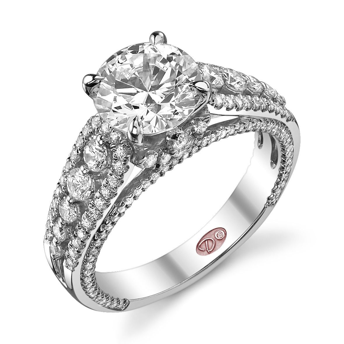 18k white gold semimount with 0.79 carat total weight