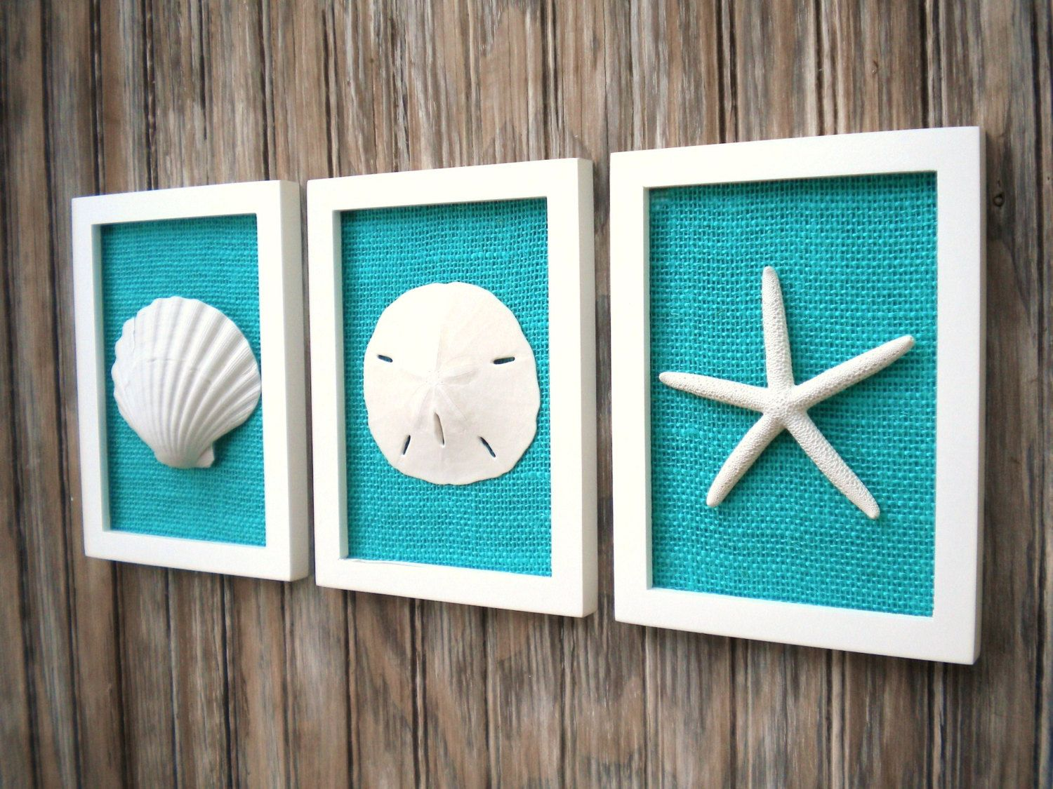 Cottage Chic Set of Beach Wall Art, Sea Shells Home Decor, Beach House Wall Decor, Sea Shell Art, Coastal Art, Pure White & Teal Burlap #purewhite