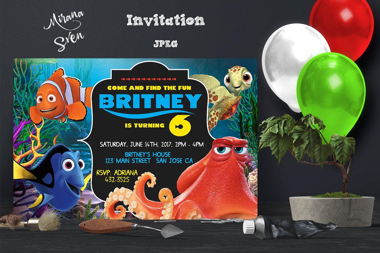 Finding Dory Invitation - Finding Nemo Dory Invite - Disney Pixar ...