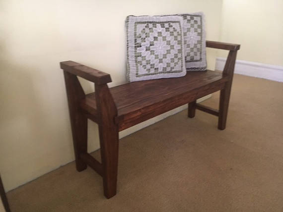 Farmhouse Style Bench Rustic Bench With Armrest Solid Wood