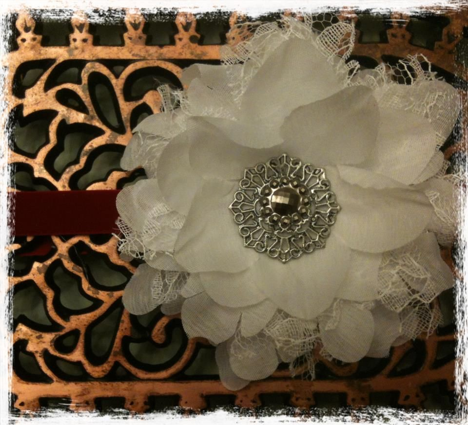 White vintage lace flower headband. Great for christmas. fits baby or toddler. $9.00