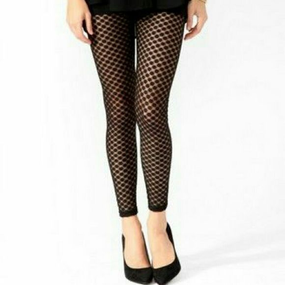 3793b2eaad680 Forever 21 black honeycomb fishnet leggings tights Black 'honeycomb'  footless tights from Forever 21