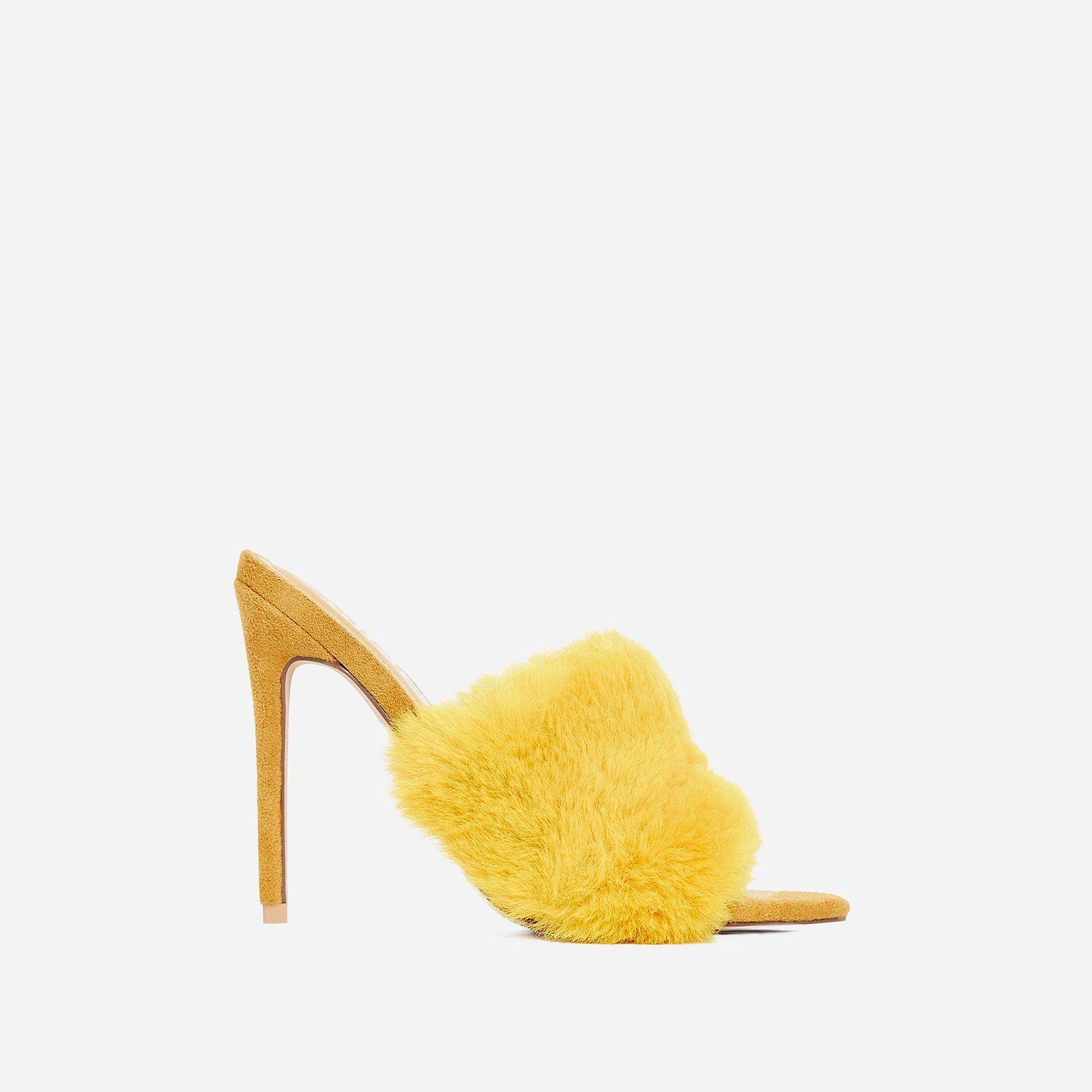 Savage Faux Fur Heel Mule In Yellow Faux Suede Fur Heels Heeled Mules Faux Fur