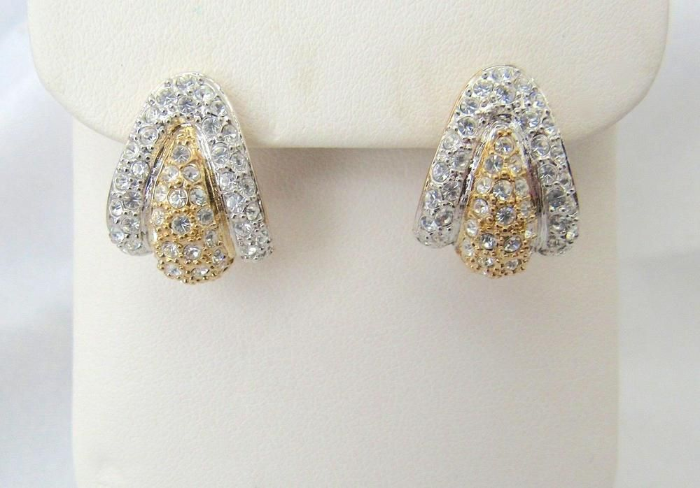 Gorgeous Signed Roman Rhinestone Two Toned Pierced Earrings Starts 99 Cents Romaninc