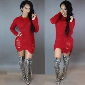 6102df5f4b702 Plus Size Women Ladies Ripped Long Jumper Dress Top Knitted Blouse Wooly  Sweater