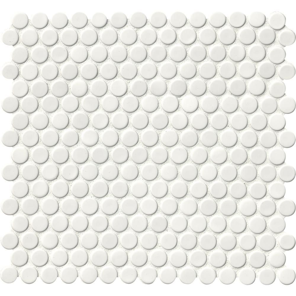 MSI White Glossy Penny Round 12 in. x 12 in. x 6 mm