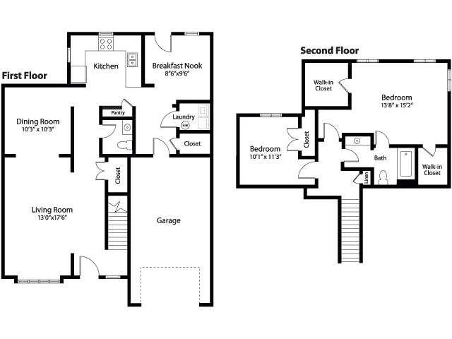 Ns Great Lakes Glenview Community 2 Bedroom Town Homes Floor Plan Floor Plans House Floor Plans Flooring
