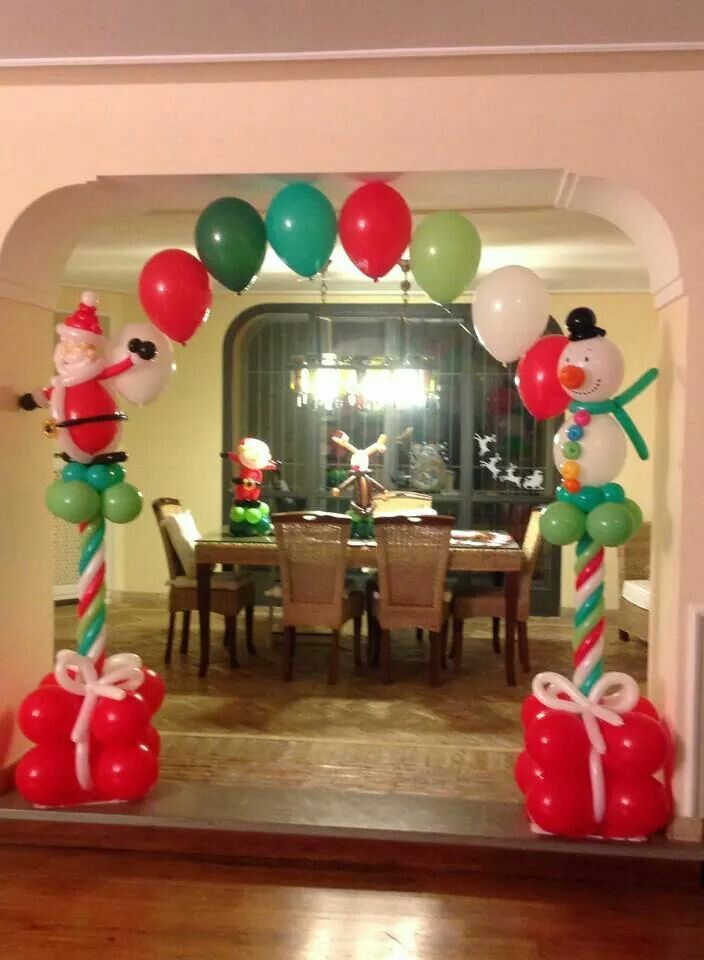 Lovely idea for a balloon christmas decoration presents - Decoracion columnas salon ...