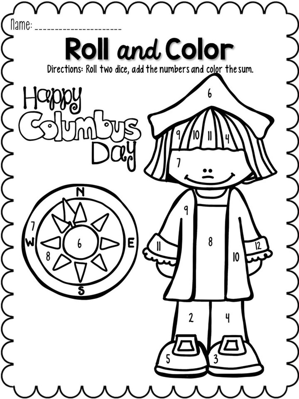 Roll And Color October Kindergarten Worksheets Kindergarten Worksheets Printable Number Worksheets Kindergarten [ 1536 x 1152 Pixel ]