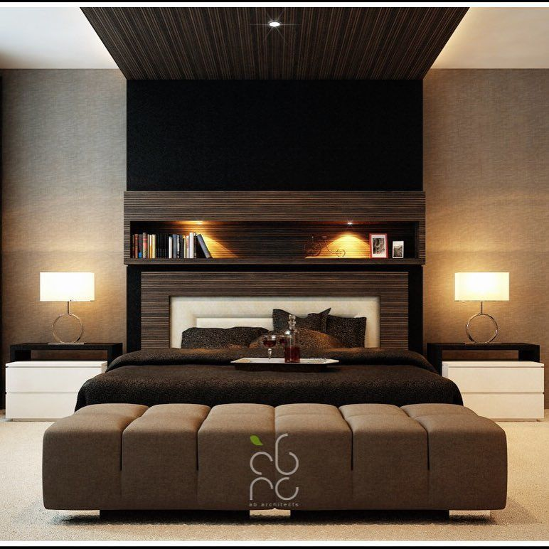 Modern Master Bedroom Design Ideas With Brown Decoration Cream Curtain And Best Lighting