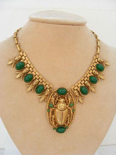 Egyptian scarab necklace via eBay.