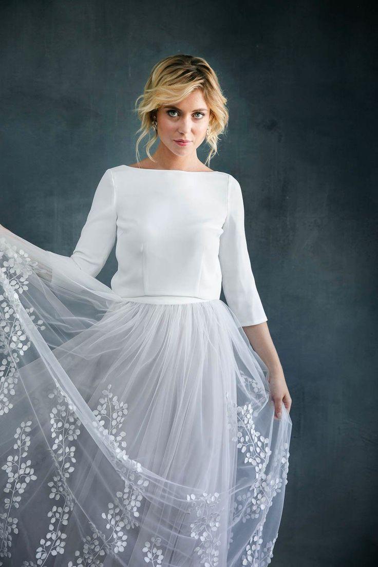 Abnehmbarer Braut Überrock mit 18D-Blätter-Tüll - Lillith