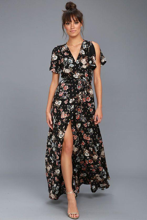 Divine Days Black Floral Print Wrap Maxi Dress Wrap