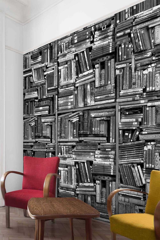 Carta da parati Libreria shabby in bianco e nero Carta