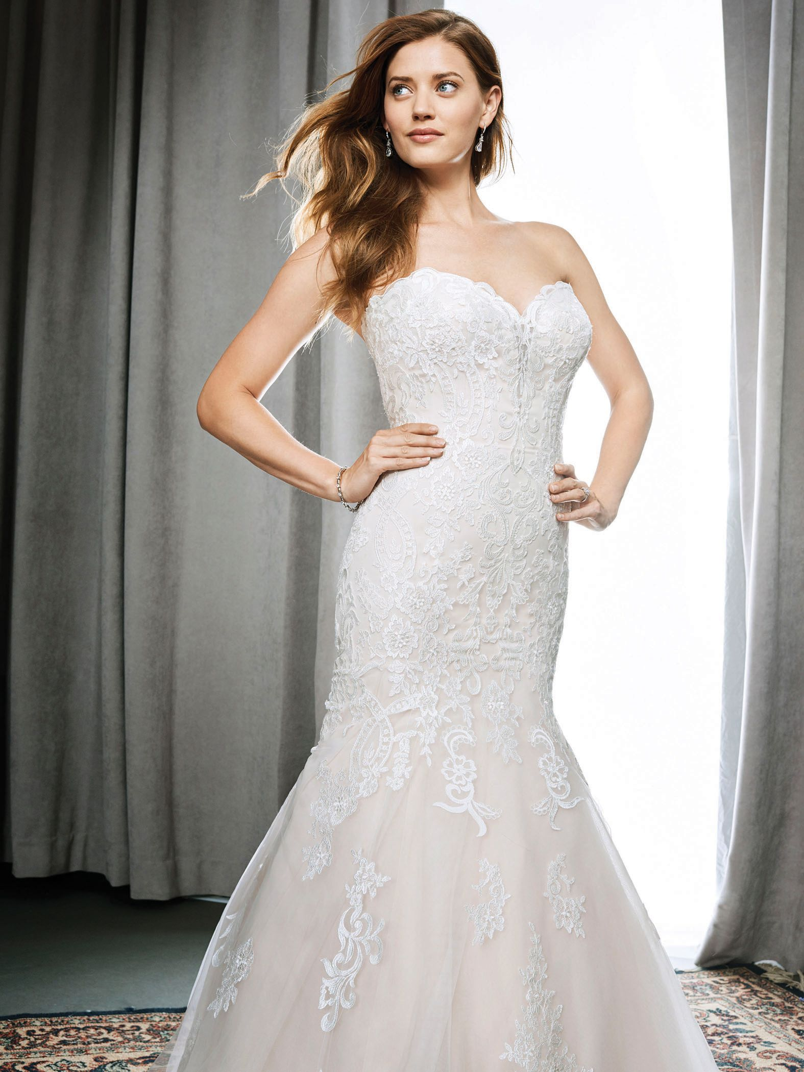 Kenneth Winston Style 1705 | fit and flare embroidered cotton lace wedding gown with low v-back | luxurious bridal gown