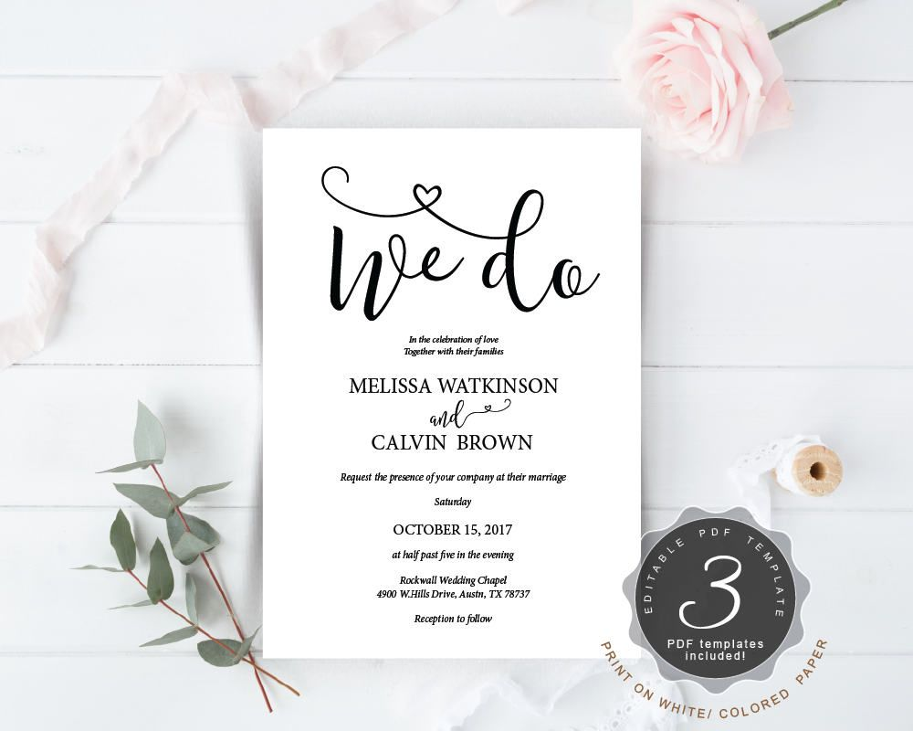 We do wedding invitation cards suite instant download pdf editable we do wedding invitation cards suite instant download pdf editable template kraft rustic calligraphy stopboris Choice Image