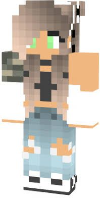 Hella Cute Camo And White Girl With One Ripped Sleeve And Green Eyes - Camo skins fur minecraft