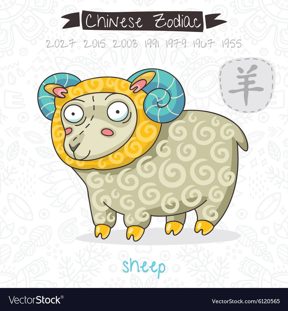 Chinese Zodiac Sign Sheep vector image on VectorStock