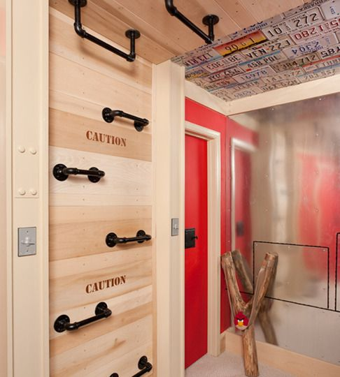 Kids Rooms Climbing Walls And Contemporary Schemes: Climbing Wall And Monkey Bars In Kids' Room