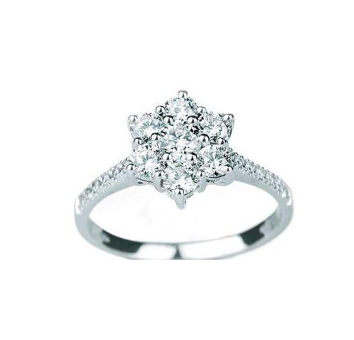 Anello-da-Donna-in-Oro-Bianco-18kt-con-Diamanti-0-29-Ct-Certificato-di-Garanzia