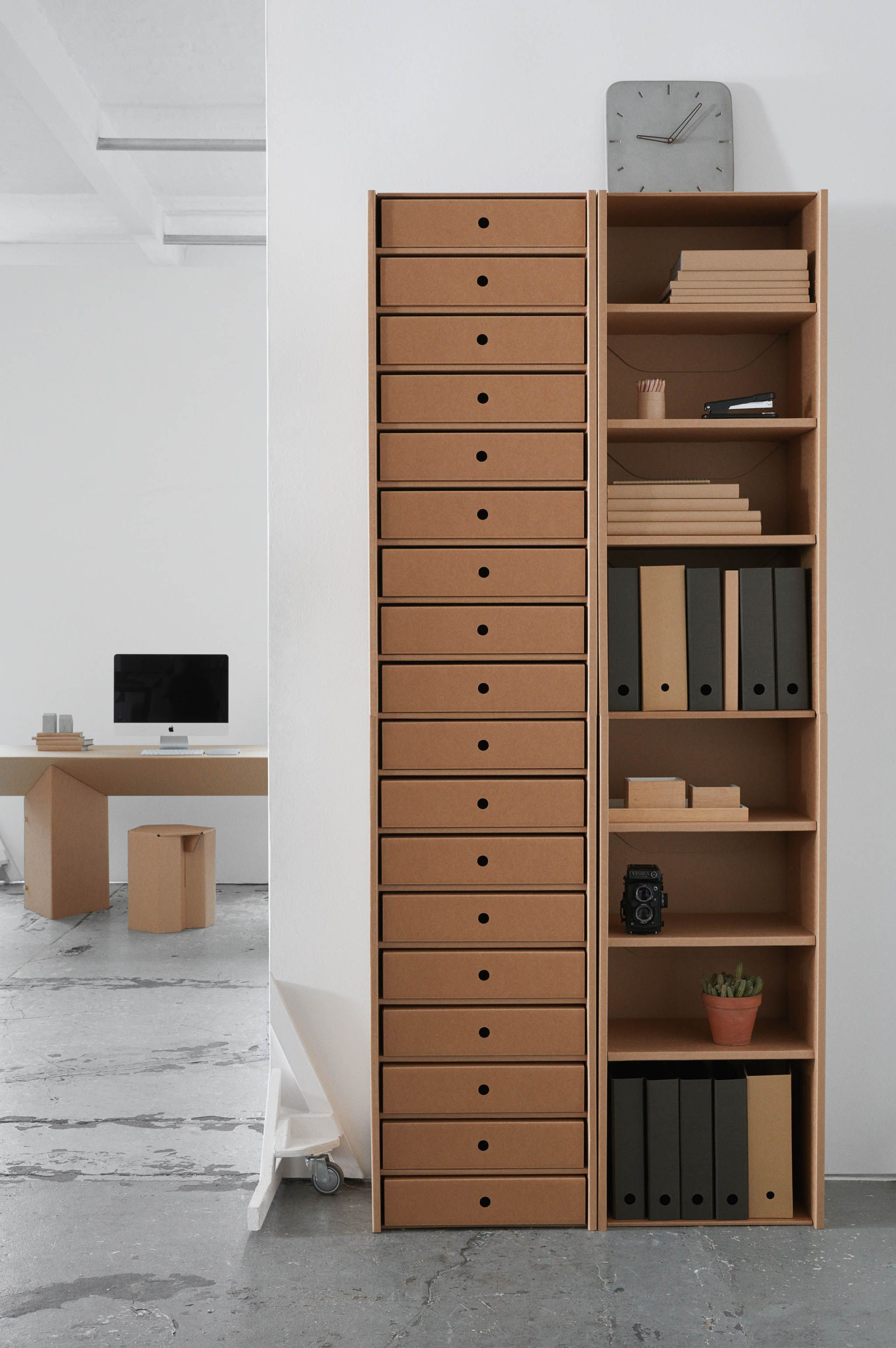 cardboard furniture from berlin for your office shelves are all carton and super strong. Black Bedroom Furniture Sets. Home Design Ideas