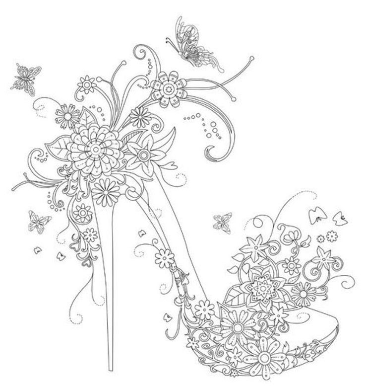 Gorgeous High Heel Shoe Floating Lace Adult Coloring Book I
