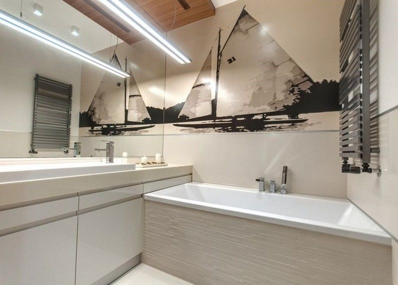 Modernes Badezimmer - Fototapete mit Boot in Beige und Schwarz - bad beige aufpeppen