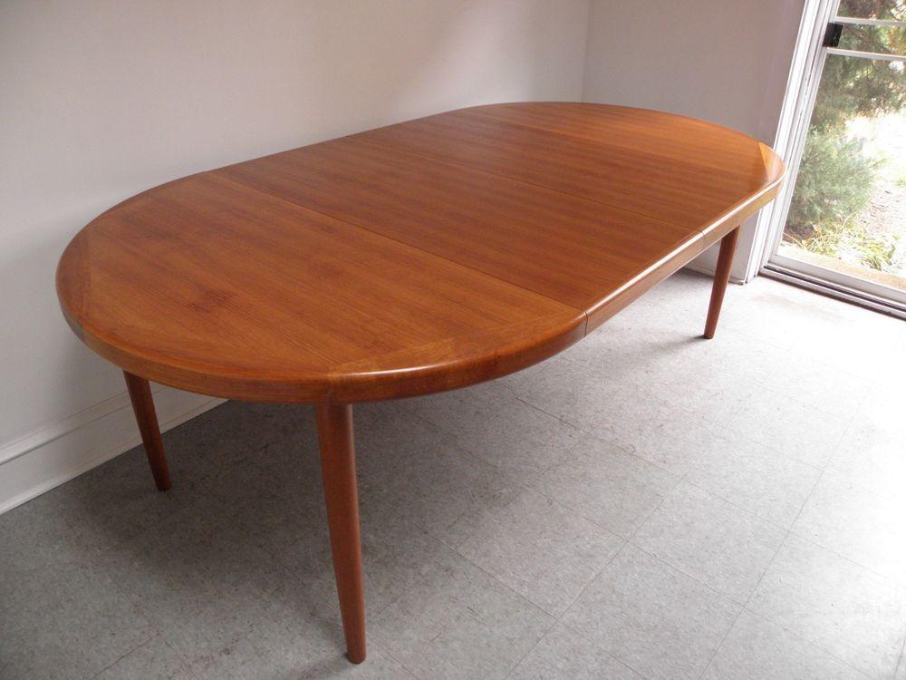 Mid Century Danish Modern Extending Teak Dining Table By Vejle