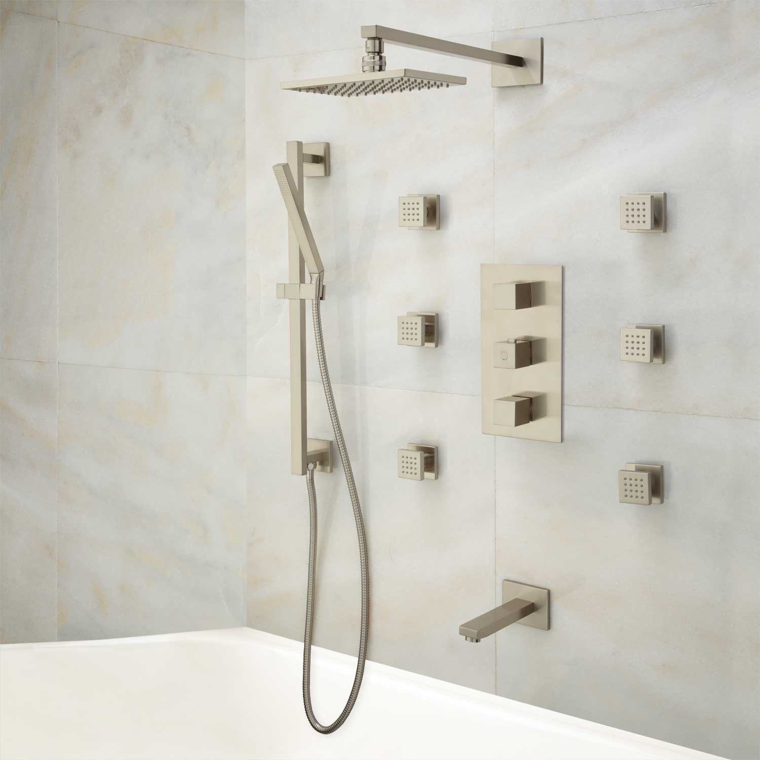 Onassis Thermostatic Tub & Shower System - 6 Body Sprays | Shower ...