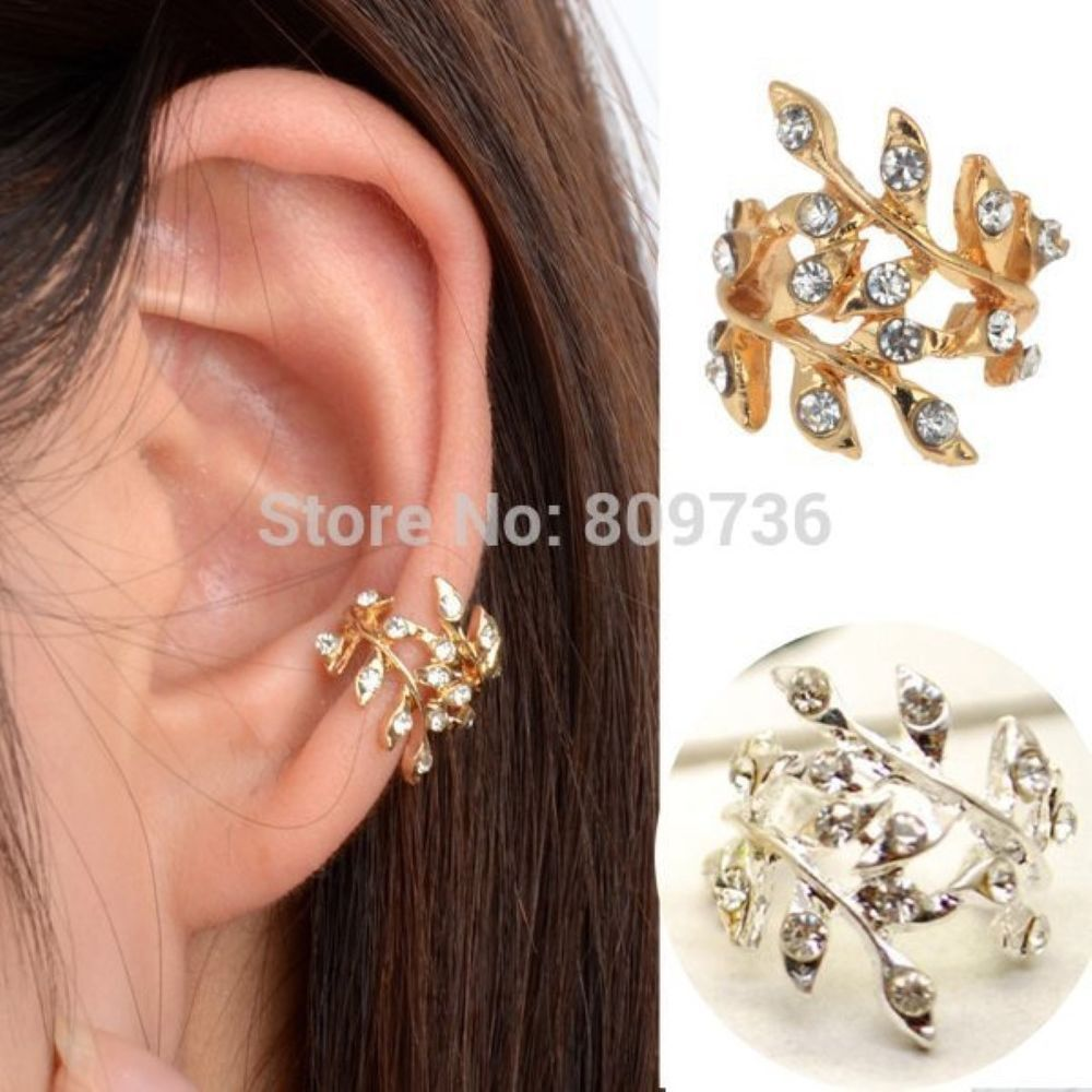 UK STOCK LEAF Gold Plated  Crystal Diamonte Punk Ear Cuff Earring Clip On #Unbranded #EARCUFF