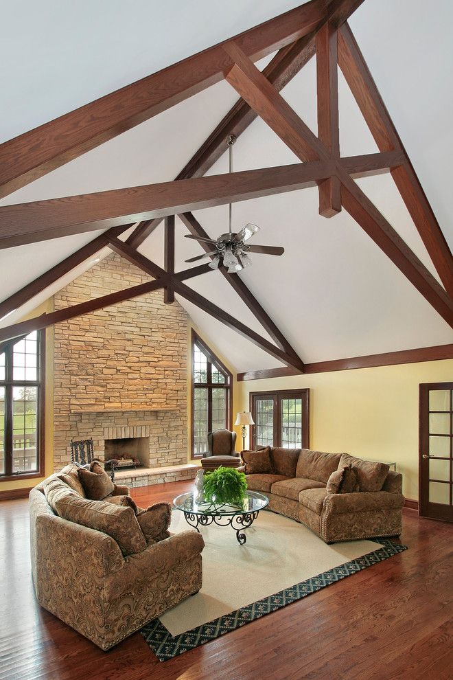 great room, heavy timber trusses, reclaimed wood, wood ... |Modern Wood Trusses