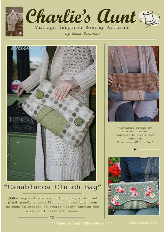 Charlie\'s Aunt Casablanca Clutch - Downloadable Pattern. Pinned from ...
