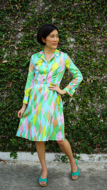 Vintage Dress, 1980s Dress, Vintage Japanese Dress, Vintage Womens Dress, Summer Dress, 80s Style, 80s Dress, Mod Dress, Abstract Print by hisandhervintage on Etsy