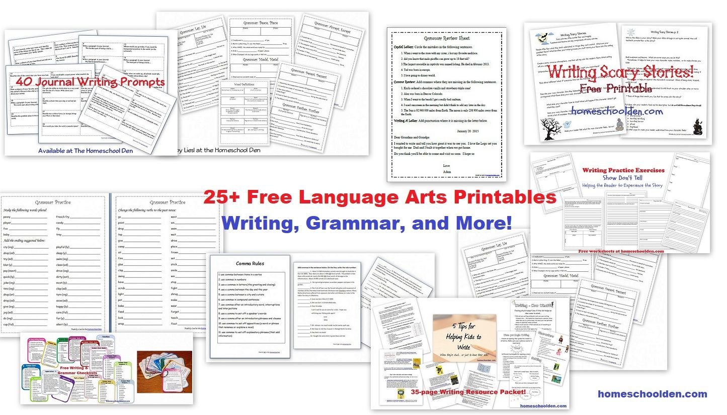 25 Free Grammar And Writing Worksheets And Printables