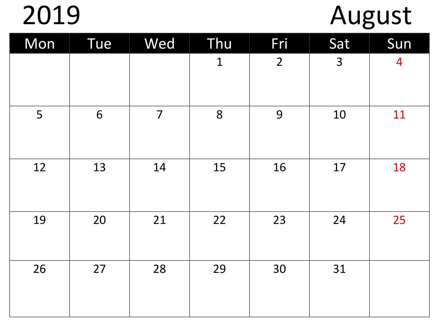 Calendar August 2019 Editable With Holidays Calendar Word 2019