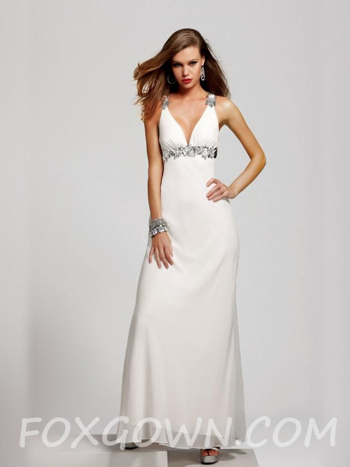 Danielle\'s: white sleeveless long prom dress with floral beaded ...