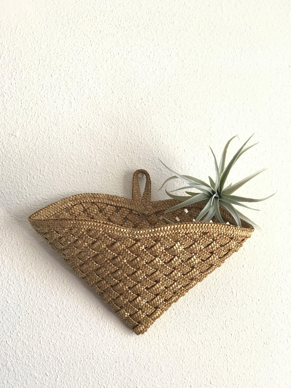 Bamboo Rattan Wicker Wall Pocket Basket Medium - Woven Wicker