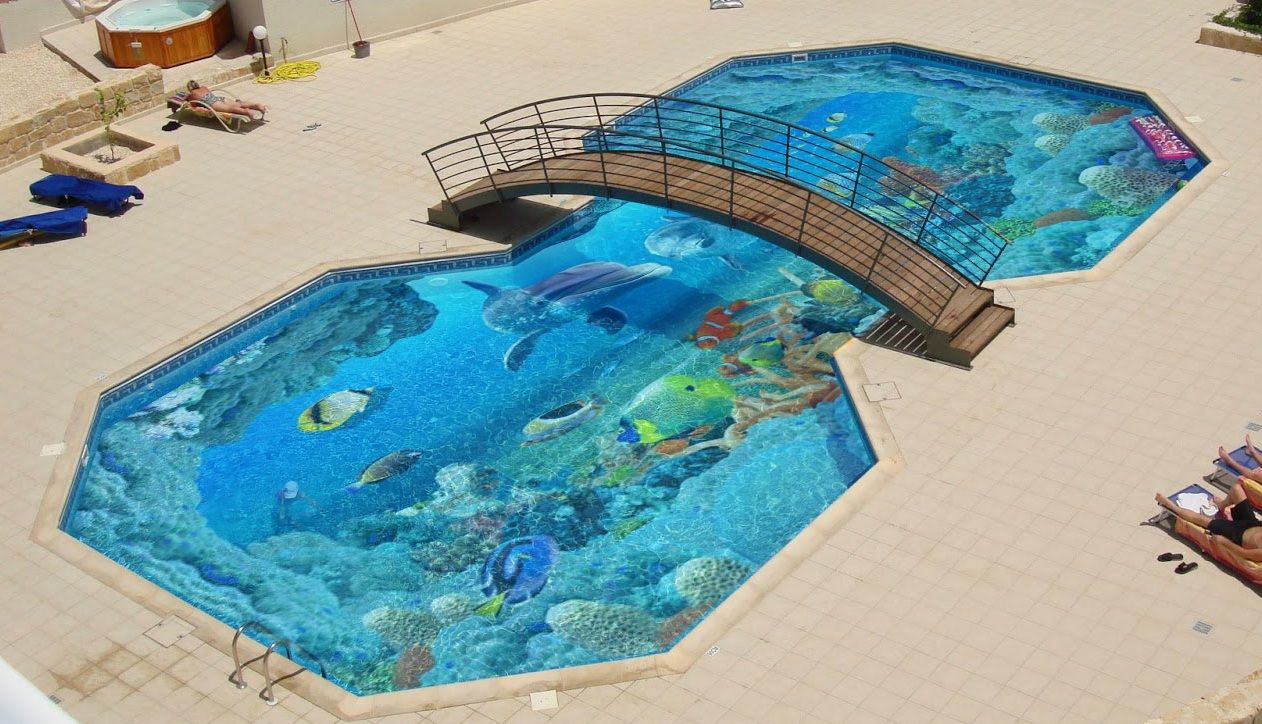 3D flooring for swimming pools This solution is the three-layer ...