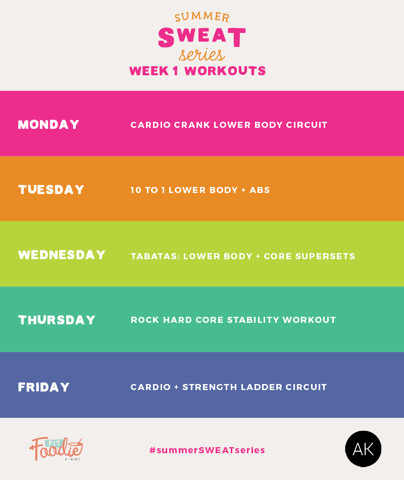 Summer SWEAT Series: Fitness Plan Week 1- here's 5 workouts to get your  butt into shape this summer! The theme is cardio + lower body.