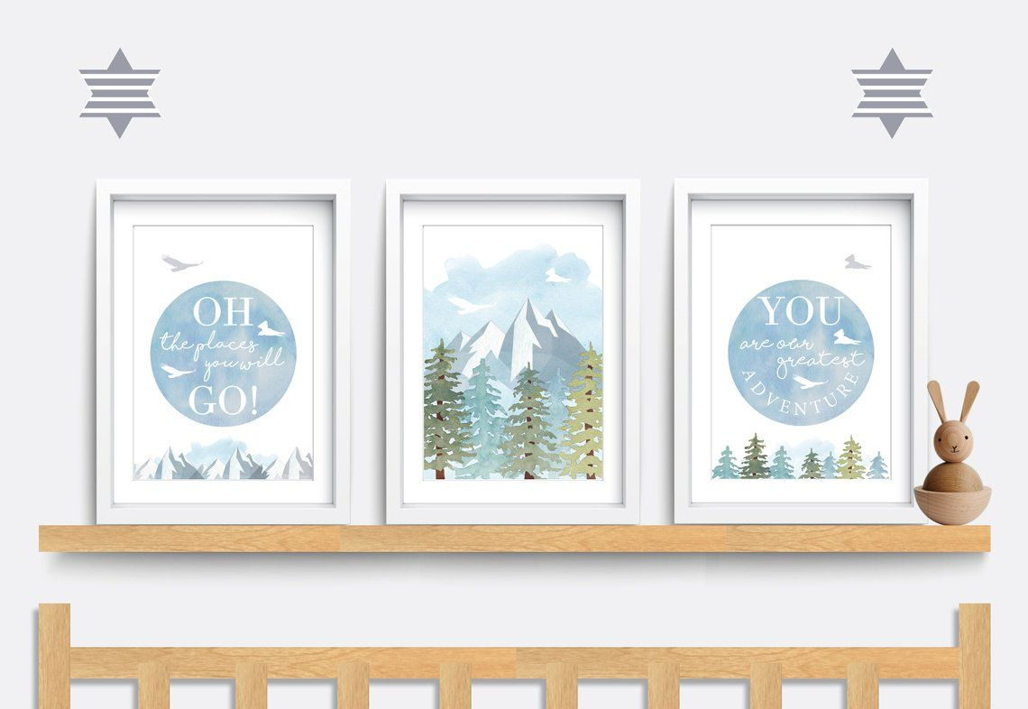 Mountain nursery prints, Oh the places you will go wall art, Blue nursery decor, You are our greatest adventure print, Outdoor wall art #ohtheplacesillgo