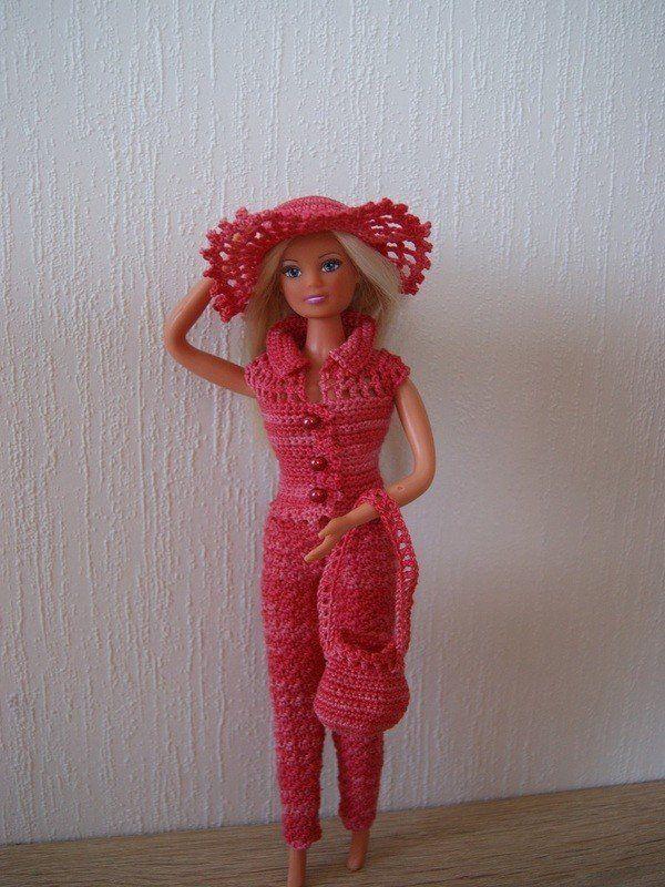 Häkelanleitung Barbie Set 4 teilig Hose, Jacke, Hut, Tasche ...