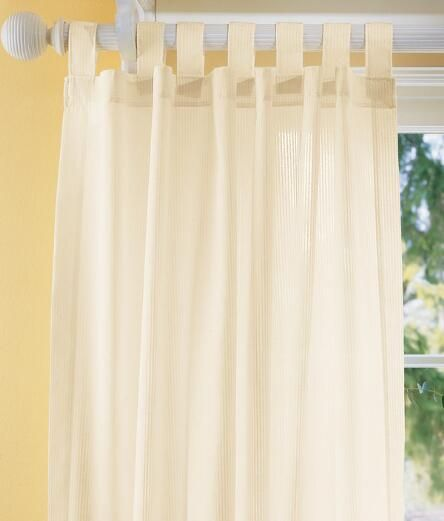 Sheer Curtains Striped Semi Tab Panel Country