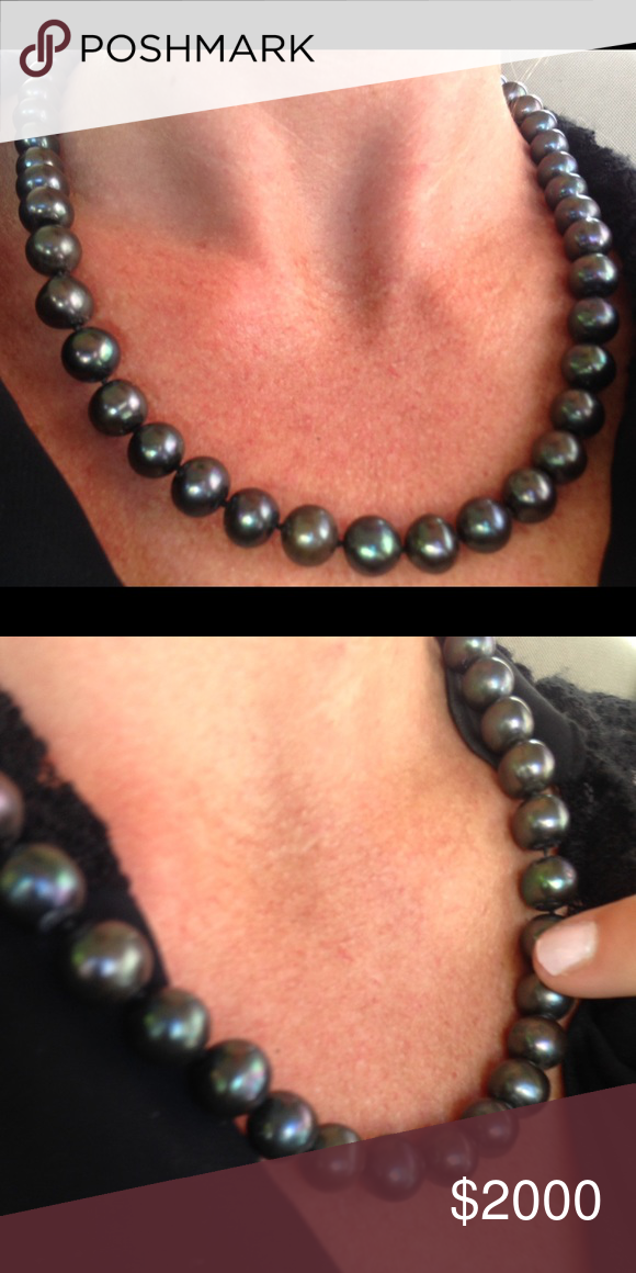 Real Tahitian Saltwater Black Pearl Necklace Real Tahitian Saltwater Black Pearl Necklace purchased at a very reputable high-end jewler while on a trip to Hong Kong.  The color is called Peacock and is highly sought after.  The almost perfect round shape and size makes this necklace very valuable. Jewelry Necklaces
